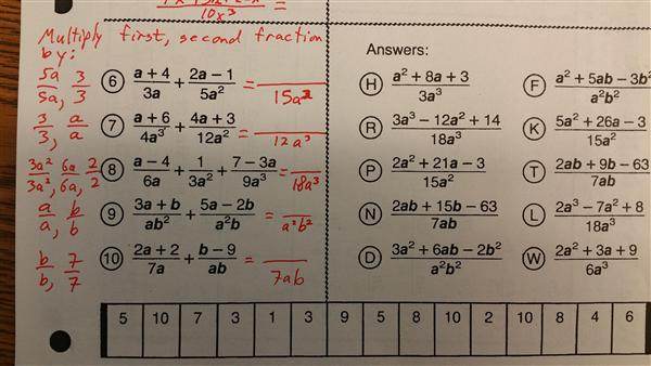 Cryptic quiz math worksheet answers page 120