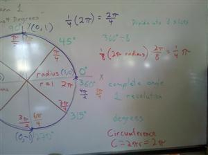 2 pi radians = 360 degrees