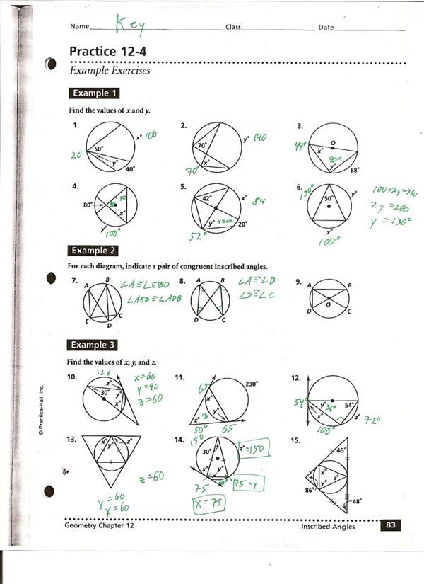 Practice 12-4 KEY