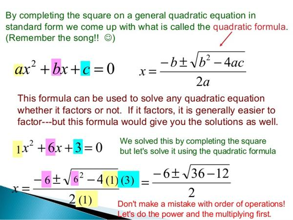 applying quadratic formula