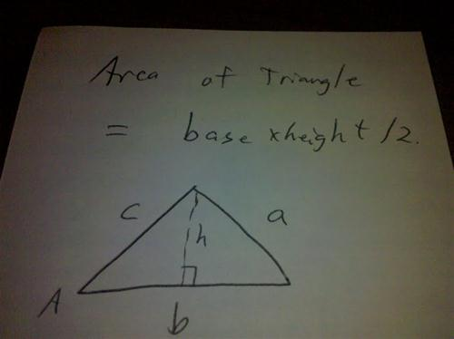AREA = base * height / 2