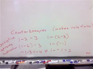 counter example disproving associative subtraction