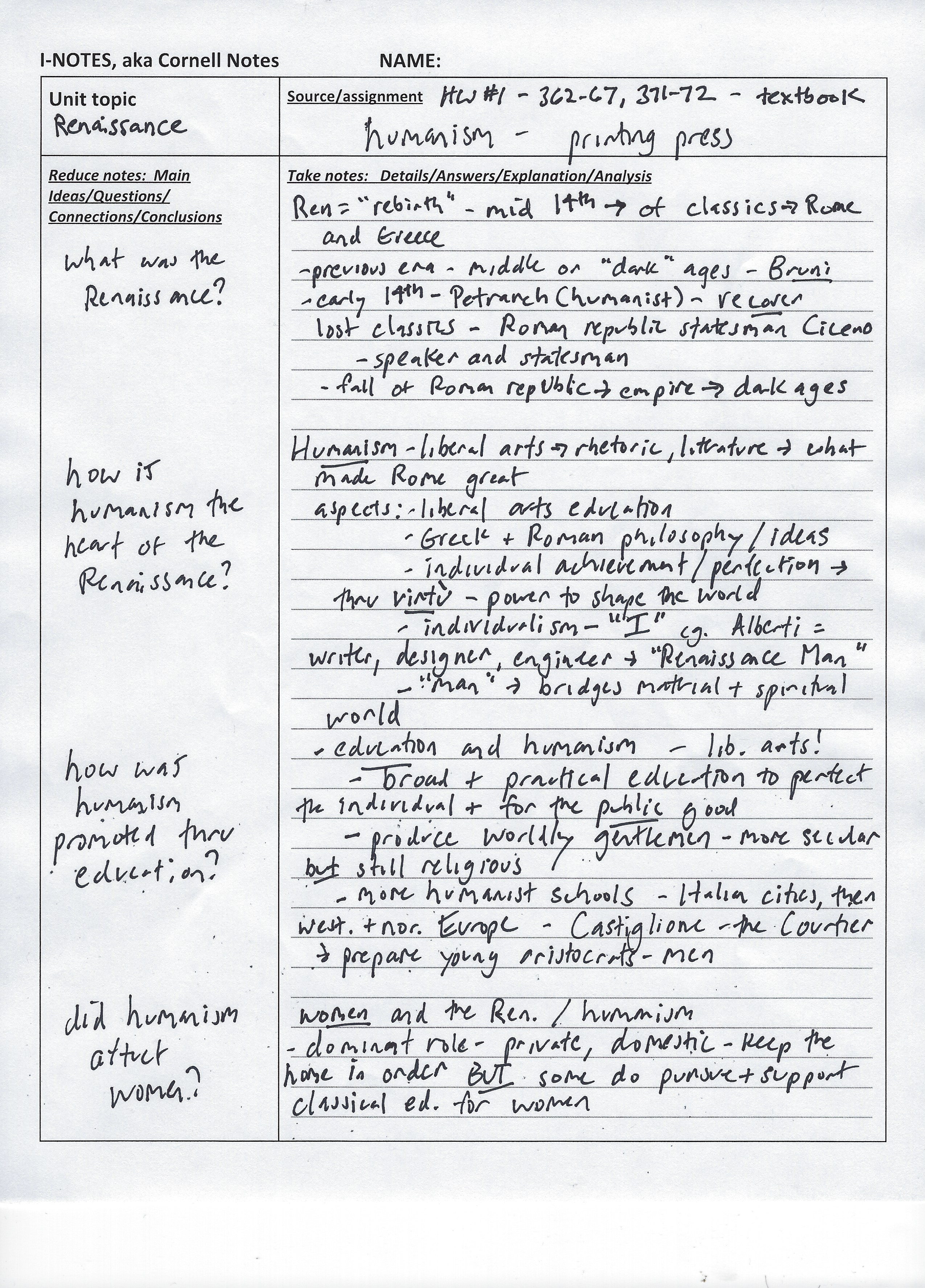 Cornell Notes Page 1