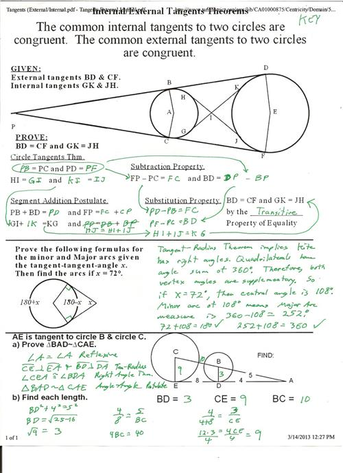 Tangents Theorems